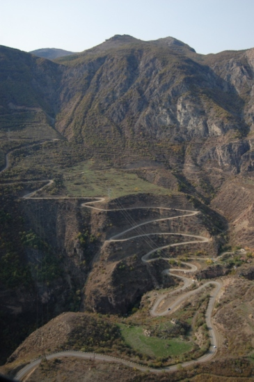 View of mountain roads below the tramway.