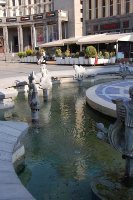 Fountain in Charles Aznavour Square.
