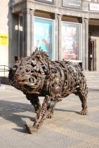 Iron bear statue in Charles Aznavour Square.